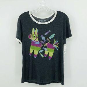 LLAMA PINATA Gray ringer Graphic Tee Shirt Medium